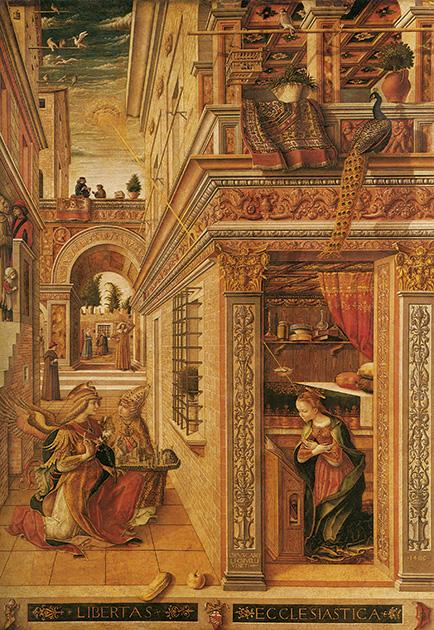 図2──遠近法理論で精確に描かれている。カルロ・クリヴェッリ〈受胎告知〉1486。(『イタリア・ルネサンス絵画』サラ・エリオット、森田義之/松浦弘明(訳)、西村書店1994)