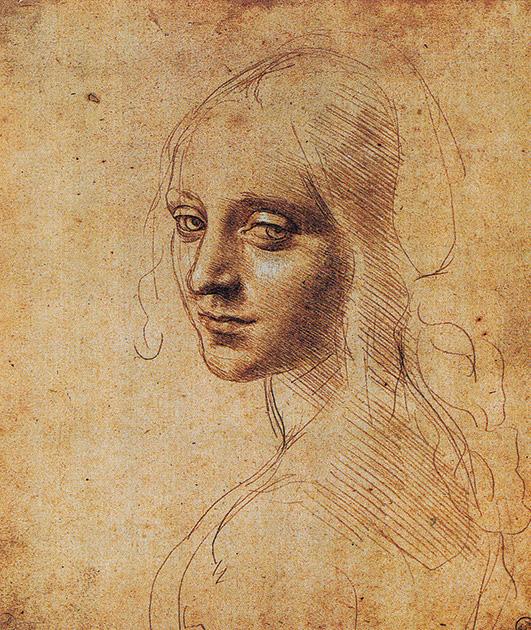 図3──ハーフシャドーを斜線で表現しているレオナルド・ダ・ヴィンチ〈若い女(天使?)〉1483-84頃。(『万能の天才 レオナルド・ダ・ヴィンチ』アレッサンドラ・フレゴレント、張あさ子(訳)、ランダムハウス講談社、2007)