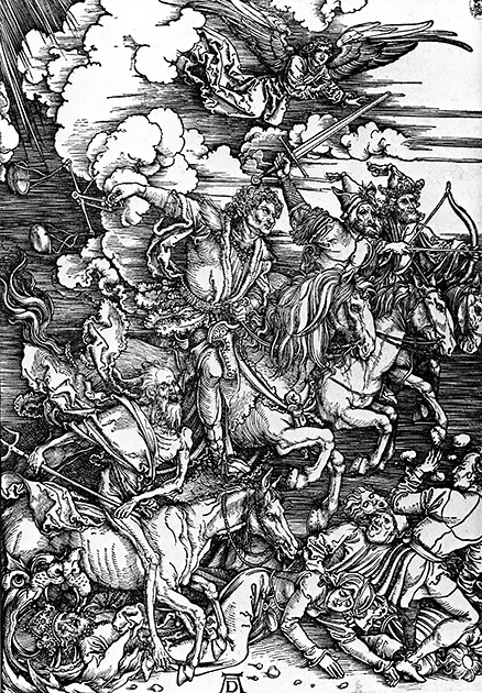 図4──斜線によるシャドー表現が際立つデューラー〈ヨハネ黙示録 黙示録の四騎士〉1498。(『gq No.1』、ジイキュウ出版社、1972)