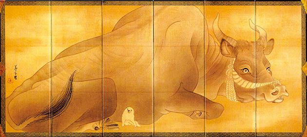 図17・18──長澤蘆雪〈白象黒牛屏風〉18世紀末。(『プライス・コレクション──若冲と江戸絵画』東京国立博物館/日本経済新聞社(編)、日本経済新聞社、2006