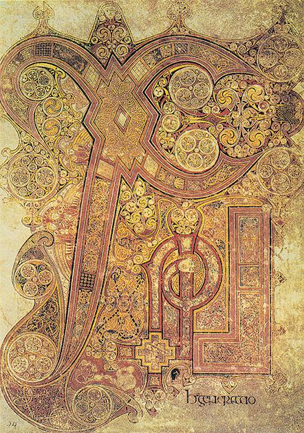 図2──スコットランドの福音書の写本『ケルズの書』(8〜9世紀)の1ページ。(『ケルズの書』バーナード・ミーハン、鶴岡真弓(訳)、創元社、2002