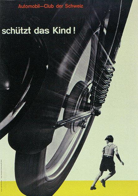 図22──車のクローズアップが余白とも相まって、迫力をもたらしている。ヨゼフ・ミューラー・ブロックマンの交通安全ポスター「子どもを守れ」1953。(『世界に衝撃を与えたグラフィックデザイン──100のアイデアでたどるデザイン史』スティーブン・ヘラー/ヴェロニク・ヴィエンヌ、Bスプラウト、2015)