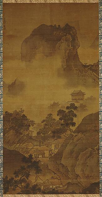 図7──中景を雲で覆った雪舟〈四季山水図 秋景〉15世紀中後半。(「雪舟」wikipedia)