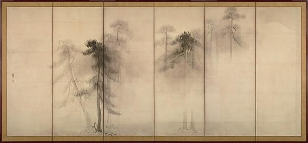 図8──長谷川等伯の水墨画〈松林図屏風〉左隻、16世紀末。(「長谷川等伯」wikipedia)