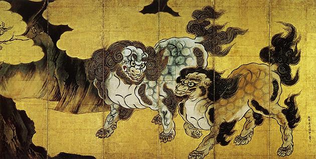 図9──狩野永徳〈唐獅子図〉16世紀後半。(「狩野永徳」wikipedia)