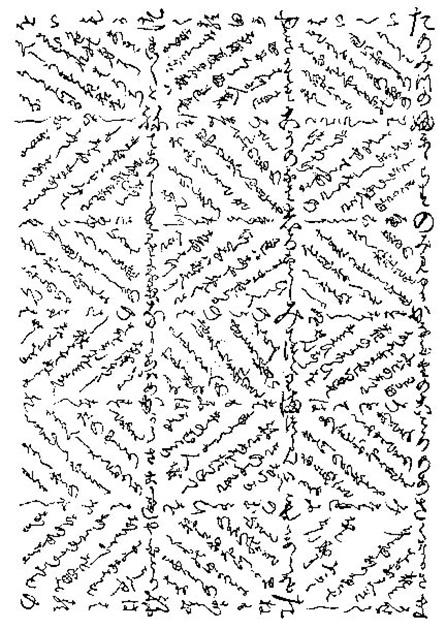 図13──「碁盤歌の右半分。同じものが左にも続く。全体が畑のイメージになっていて、「米」の文字が現れるようにレイアウトされている。塙保己一編『群書類従』に再録された「源順集」より、1793-1819。