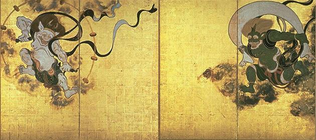 図16-1──俵屋宗達〈風神雷神図〉17世紀前半。(「風神雷神図」Wikipedia)