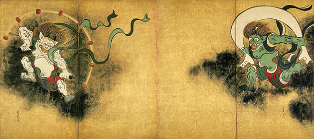 図16-2──尾形光琳〈風神雷神図〉18世紀前半。(「風神雷神図」Wikipedia)