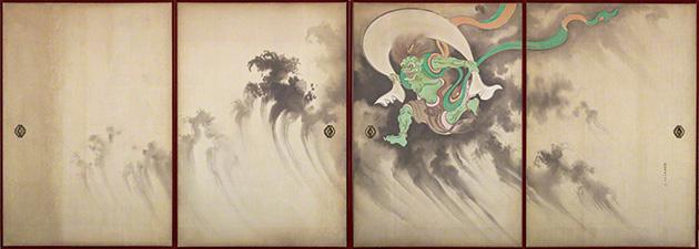 図16-4〜5──鈴木其一〈風神雷神図襖〉19世紀、の左隻、右隻。(「風神雷神図」Wikipedia)