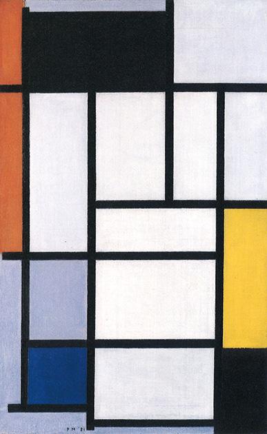 図18-1〜3──モンドリアンのコンポジション作品、1921、1929。最後の〈New York City III〉(1942ごろ)と題された作品はカラーテープでつくられている。(『mondrian』John Milner、Abbeville Press、1992)