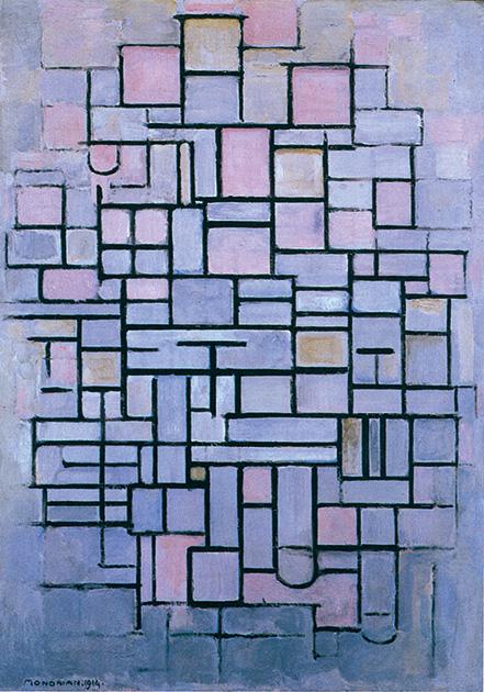 図19-1〜13──モンドリアンの1908〜42年までの作品の変遷。抽象化していく流れが辿れる。(『mondrian』John Milner、Abbeville Press、1992)