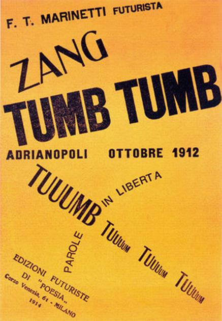 図9──未来派フィリッポ・トンマーゾ・マリネッティの自由詩を集めた『ZANG TUMB TUMB』のカバー、1914。(「Zang Tumb Tumb」Wikipedia)