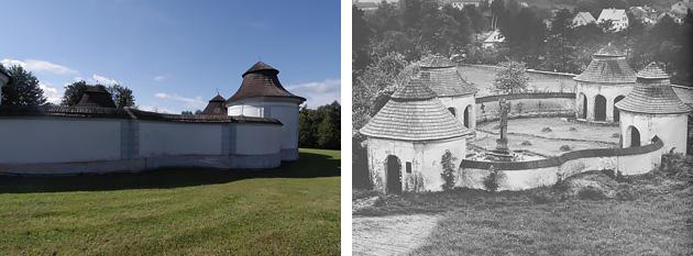 [左]Jan Blažej Santini Aichel (Giovanni Biagio Santini), Dolní hřbitov (Žďár nad Sázavou)塀の外側から見たところ。丸みを帯びた塀のカーブや、2段になった屋根の造形がかわいらしい。(2017年9月、筆者撮影)[右]Jan Blažej Santini Aichel (Giovanni Biagio Santini), Dolníhřbitov (Žďár nad Sázavou)4つの小さな小屋が、仲良く向かい合っているように見える。図版出典:Mojmír Horyna: Jan Blažej Santini ‒ Aichel, Univerzita Karlova, 1998