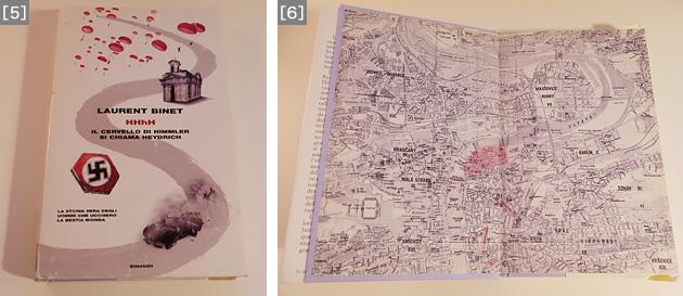 [5]Einaudi社のイタリア語訳版は、独自の編集で、オリジナルのフランス語版にはない資料がいくつも付けられている。本文中に計23点の写真図版が挿入され、巻末には用語集や、本文で引用された文献についてのイタリア語版の書誌情報も掲載されている。[6]Einaudi社のイタリア語訳版。プラハの地図上で、事件に関係ある場所が赤く塗られている。