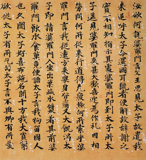 図16──白点とよばれた漢文を日本語の文として読み下すための白い点やカタカナ様の文字。(『図説 日本の漢字』小林芳規、大修館書店、1998)