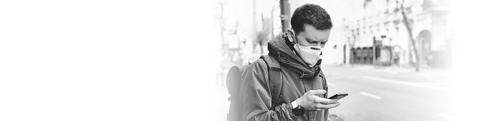 コロナ マスク スマートフォン イメージ