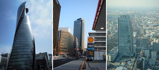 スパイラルタワーズ(左)、ミッドランドスクエア(中)、ルーセントタワー(右)